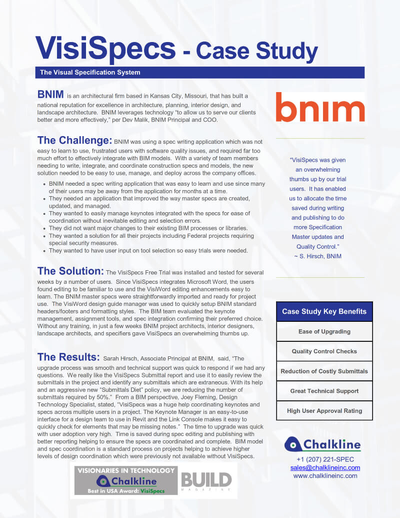 VisiSpecs Case Study BNIM